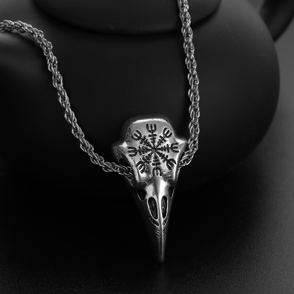 imixlot Stainless Steel Crow Skull Pendant Necklace Nordic Viking Odin Rune Leather Chain Necklace New Gothic Jewelry