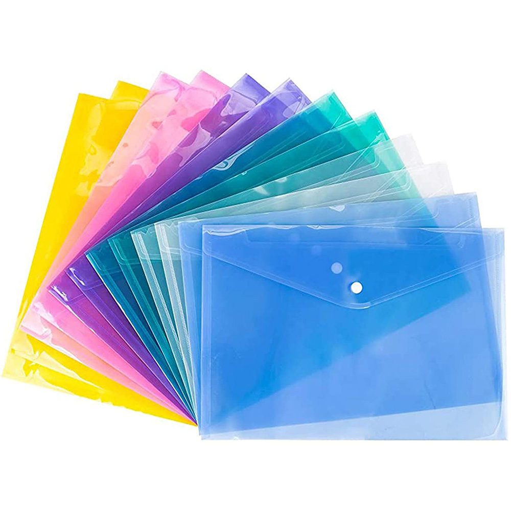 Clear Document Folder with snap Button A4 Size Premium Envelope for School Office Supplies, Travel Storage Bags