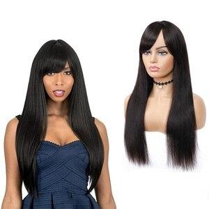 Прямые парики из человеческих волос с челкой, Бразильские Длинные парики с полной машинкой для черных женщин, не Реми, натуральный цвет, пар...