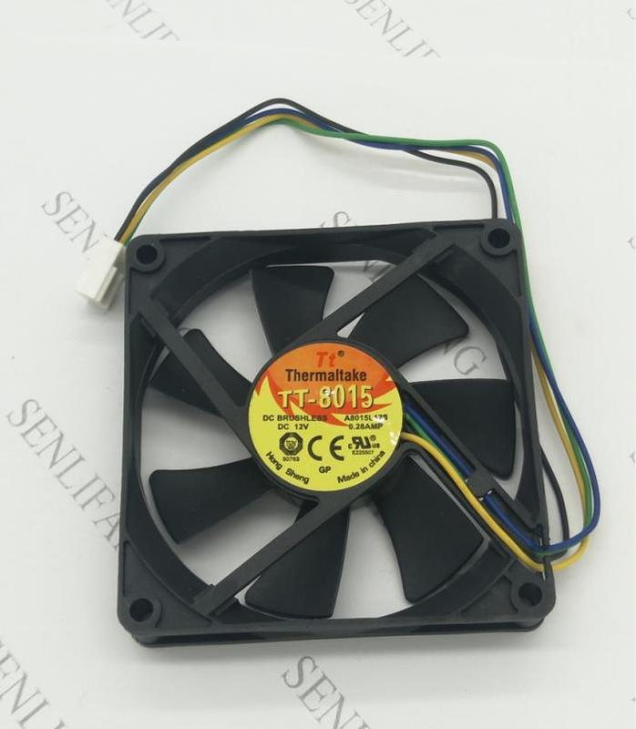 For TT-8015 A8015L12S 8CM 4PIN PWM Control Speed Temperature Control PWM Silence 1.5CM Thick 12V 0.28A Cooling Fan