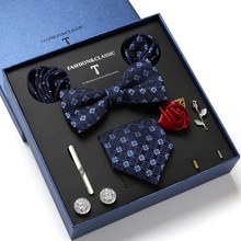 Necktie-Set Cufflinks Bowtie Silk Paisley Hanky Butterfly Tie Floral Men for And