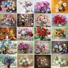 Huaning – peinture à l'huile par numéros de fleurs, dessin sur toile, peinture à l'huile peinte à la main, coloriage par numéros, cadeau de décoration de maison
