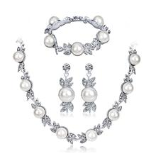 Women Elegant Bridal Jewelry Sets Rhinestone Pearl Necklace + Earrings Bracelet for Wedding Valentines Day Gift