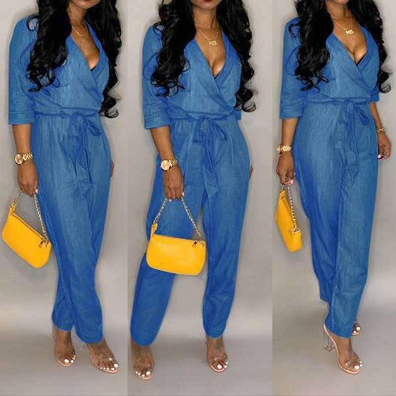Джинсовые комбинезон женщин 2019 осенние женские v-образный вырез сексуальное джинсовая куртка с длинными рукавами комбинезон женский Повседневное плюс Размеры джинсовый комбинезон легкий костюм