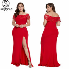 Skyyue Lace Soild Evening Dress Plus Size Women Party Dresses Boat Neck Split Robe De Soiree Short Sleeve Gown 2019 T043
