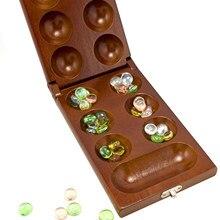 Taşınabilir Mancala tahta oyunu katlanabilir kurulu seyahat kurulu oyunu hediye