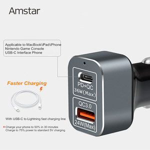 Image 3 - Amstar 60W Autolader Usb C Pd Charger Quick Charge 3.0 Snelle Auto Oplader Voor Iphone 11 Pro xs Xr X 8 Ipad Macbook Samsung 10 + 9