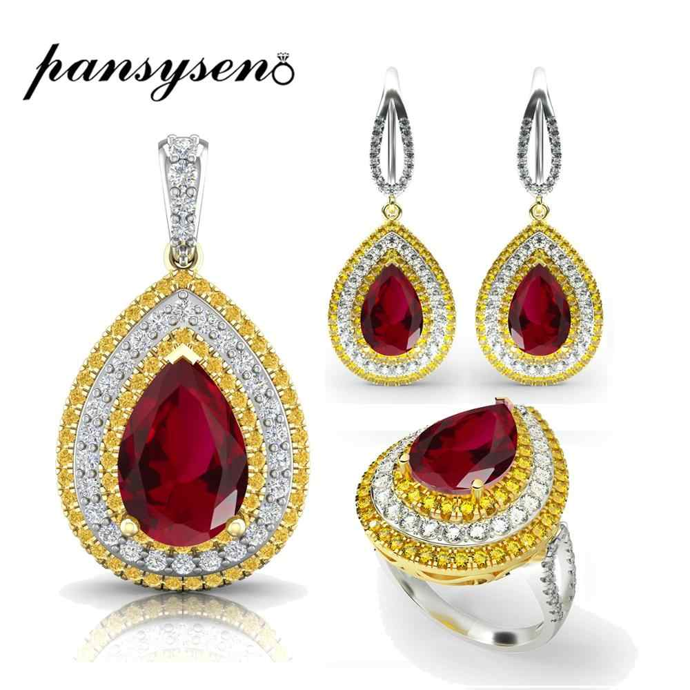 PANSYSEN Exquisite 925 Sterling Silver Water Drop Red Ruby Necklace Earrings Ring Jewelry Sets Women's Wedding  Jewelry Set Gift