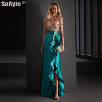 SoAyle Evening Dress 2020 O neck 3/4 Sleeves Translucent Evening Gown Lace Beaded Sexy Split Ruffles Mermaid Evening Dress Long