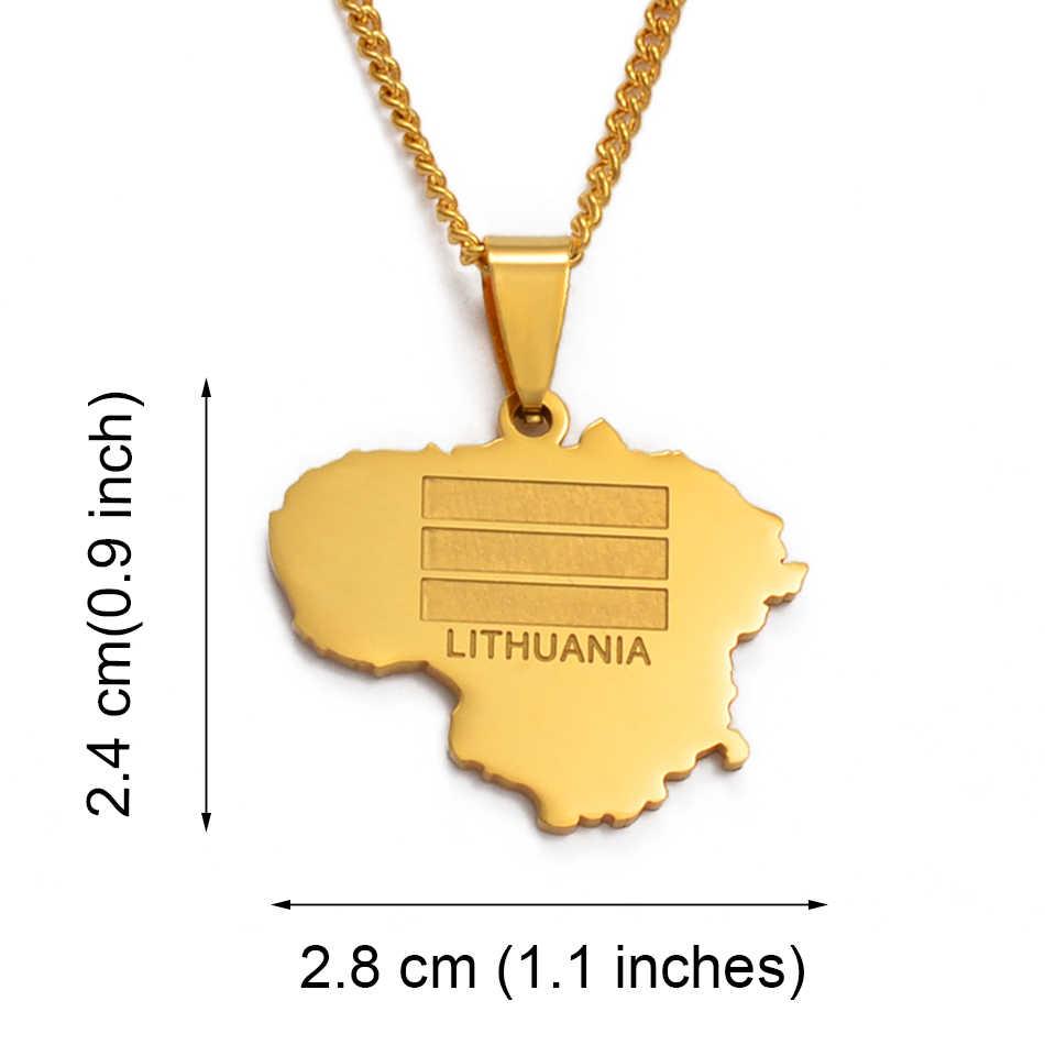 Anniyo złoty kolor litwa mapa wisiorek i Chain naszyjniki dla kobiet/mężczyzn Lietuvos biżuteria prezenty #012821