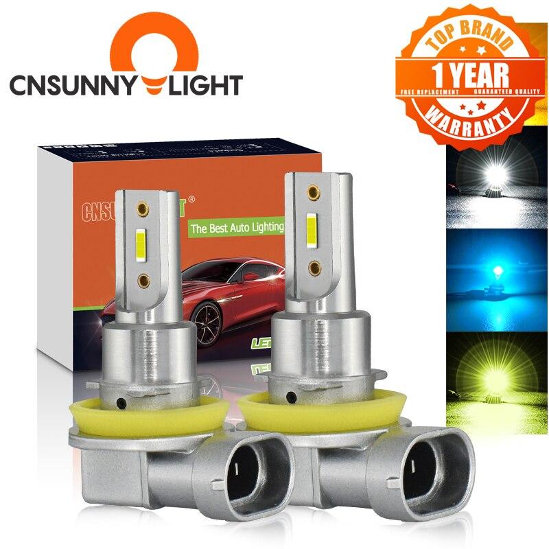 CNSUNNYLIGHT H11 H8 LED Car Fog Light Bulbs H9 H16 9005 9006 2400Lm 6000K White 3000K Yellow 8000K Blue Auto DRL Foglamp 2Pcs Car Fog Lamp    - AliExpress