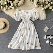SINGRAIN Women Summer Floral Embroidery Midi Dress Slash Neck Puff Sleeve A-line Dress Sexy Off Shoulder Holiday Beach Sundress(China)