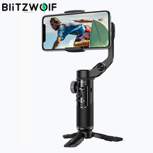 BlitzWolf BW-BS14 Pro – stabilisateur de caméra à cardan 3 axes portatif, trépied pliable, bâton de Selfie pour Smartphone, Vlog live, enregistrement vidéo