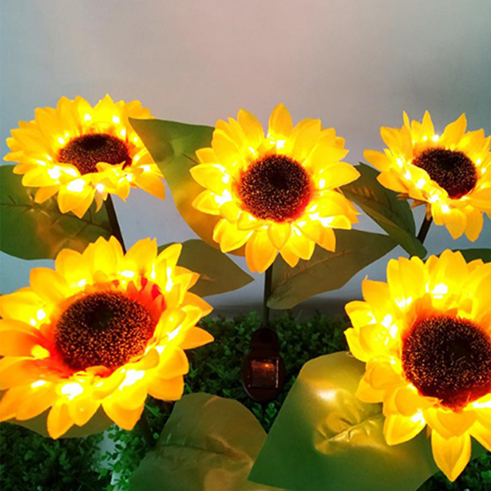 Led Solar Lights Sunflower Shape Solar Lights Outdoor Flower Pathway Decorative Light Yellow Lawn Lamp For Garden