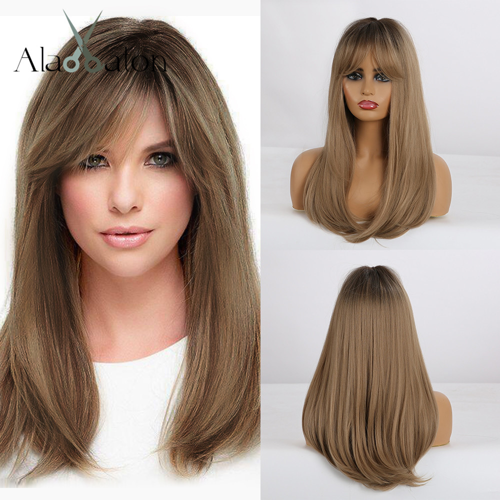 ALAN EATON Long Straight Ombre Black Brown Honey Bob Wigs With Bangs Women's Synthetic Wigs Heat Resistant Cosplay Llita Wigs