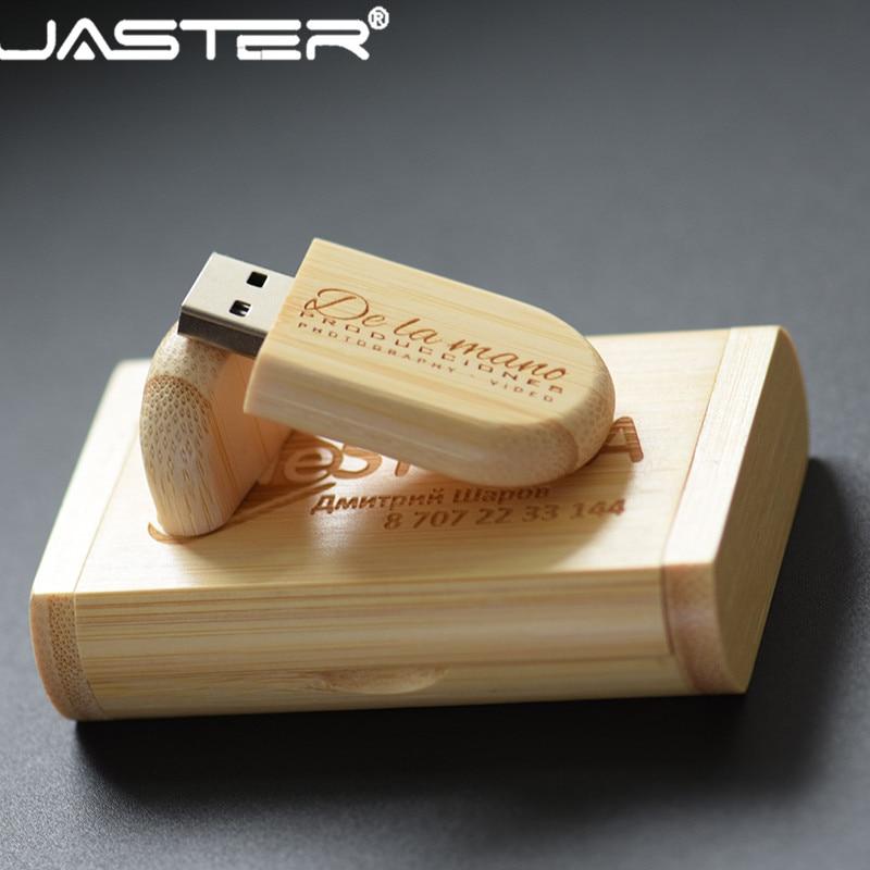 JASTER USB 2.0  Custom LOGO Carbonized Bamboo USB Flash Drive 64GB Pen Drives 4GB 8GB 16GB 32GB Memory Stick Company
