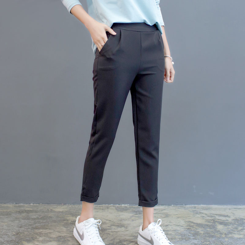 New Plus Size Women High Waist Pants Loose Stretch Harem Pants Female Casual Long Trousers Classic Pleated Pocket Office Pants