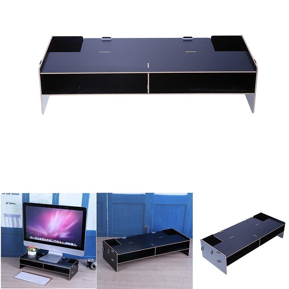 Wooden Computer Monitor Organizer Escritorio TV PC Stand Keyboard Holder Office Desk Organizer Home OfficeDesk Storage Organizer