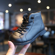 boots children kids genuine leather boy single boots children's girls boots winter England wi(China)