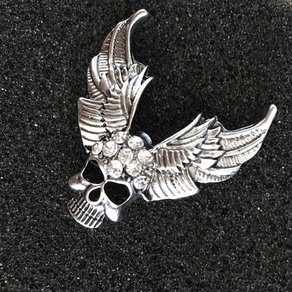 Stijlvolle Strass Schedel Ontwerp Broche Angel Wing Broche Pins Voor Tassen Jasje Hoeden Kleding Decor Hallowen Sieraden
