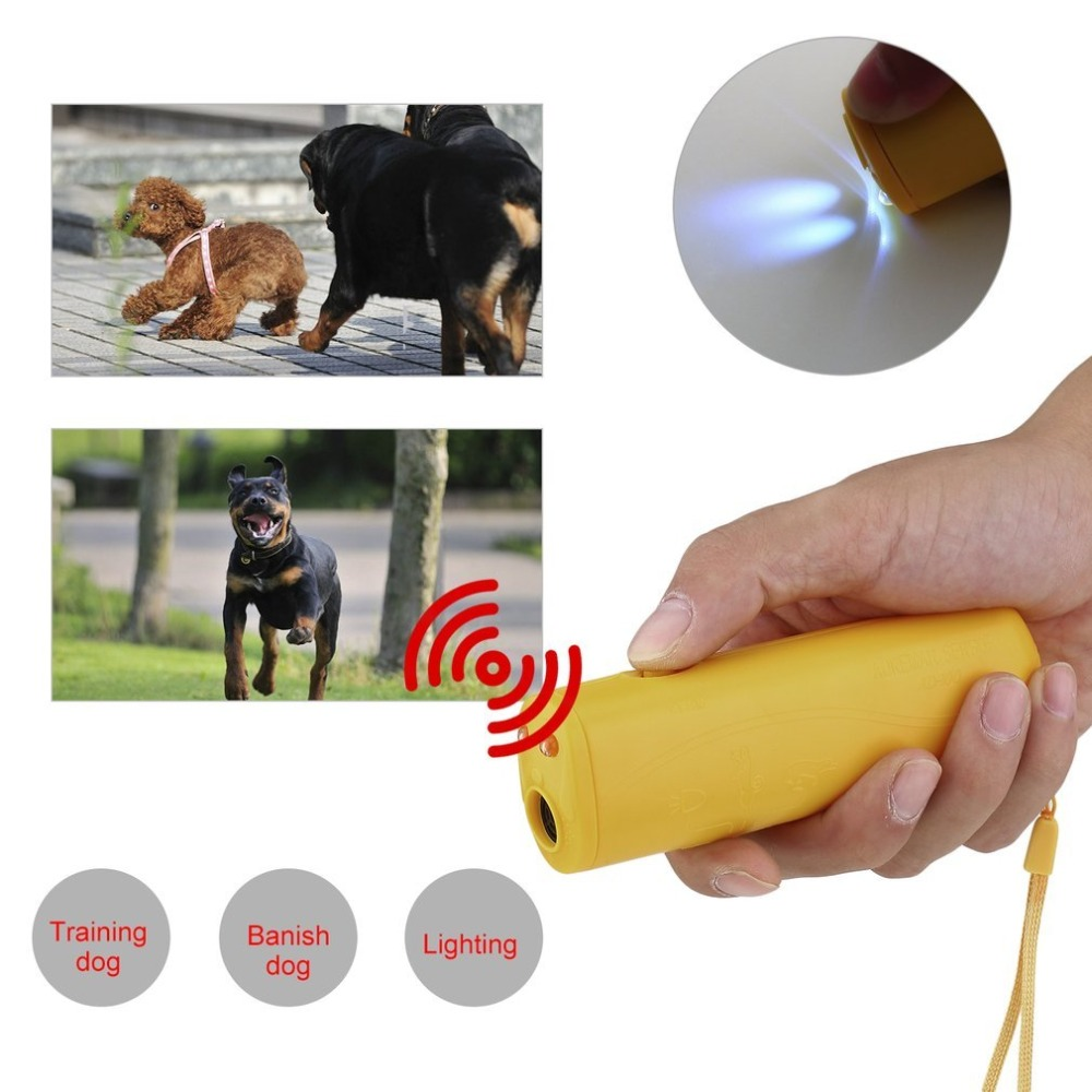 Dog Ultrasonic Anti Barking Device 3 in 1 Dog Training Anti-barking Device with Flash Light Outdoor Pets Dogs Repellent Training-1