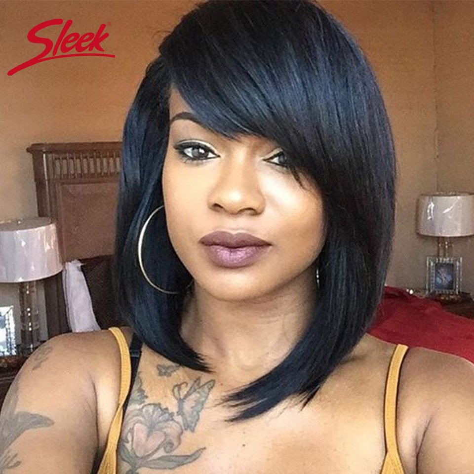 Sleek Short Human Hair Wigs 100% Remy Brazilian Hair Wigs 8 Inch Natural Wave 100% Real Human Hair Wigs P4/30  Cheap Wigs