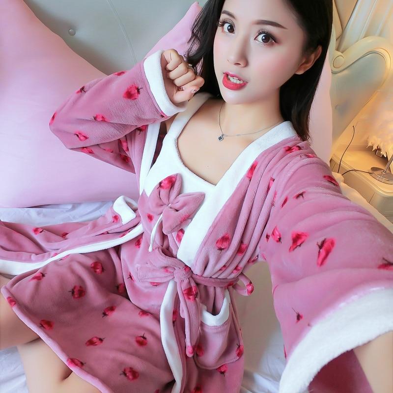 2PCS Winter Women Flannel Robe Set Robe&Nightie Kimono Bathrobe Gown Sexy Flower Coral Fleece Sleepwear Thick WARM Nightdress