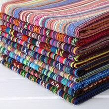 Funda de sofá de tela de lino de algodón de estilo étnico tela de retazos de tela para hotel para cortina o mantel materiales artesanales decorativos