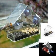 Горячая прозрачное стеклянное для окон просмотр кормушка для птиц гостиничный стол семена арахиса Висячие всасывания автоматическая кормушка для попугаев