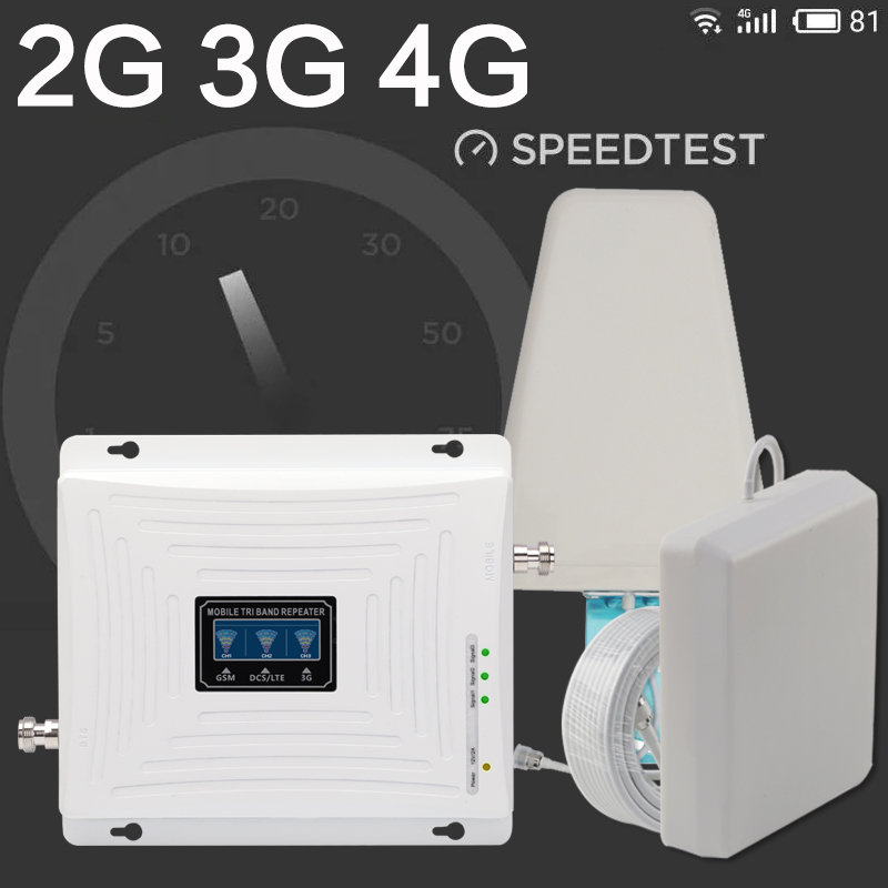 GSM 3G 4G Signal Amplifier 900 1800 2100 Tri Band Booster 2G 3G 4G LTE 1800 Cellular Signal Amplifier Cell Phone Signal Repeater in Signal Boosters from Cellphones Telecommunications