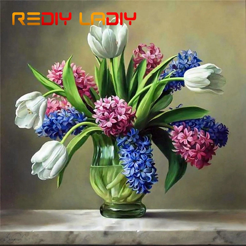DIY Beaded Embroidery Kits Tulips With Lilacs Needlework High Quality Beads Partial Crystal Beaded Cross Stitch Hobby & Crafts
