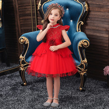 Girls Dress 2020 Summer Girl Toddler Baby Kid Girls Patchwork Ruffles Tulle Lace Party Dress Princess Dresses For Girls 2-10 white baby girls dress frills flare sleeve top t shirt party ruffles hem dresses 1 6y
