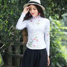 Traditional Chinese clothing 2020 women autumn elegant ethnic long sleeve mandarin collar embroidery cotton blouse shirt AF490(China)