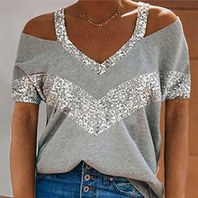 2021 New Sexy Off Shoulder short Sleeve Tops Fashion Chic Lady V Neck Tee Shirt Streetwear 5XL