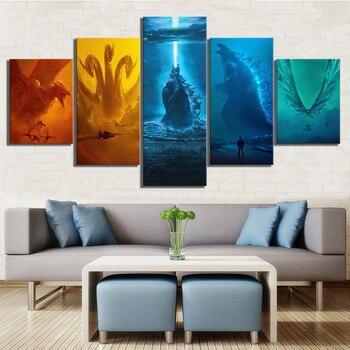 Pintura Decorativa moderna con estampado en HD de película monster Ghidorah Mothra Rodan, 5 piezas, pinturas sobre lienzo, arte de pared para productos artísticos para el hogar