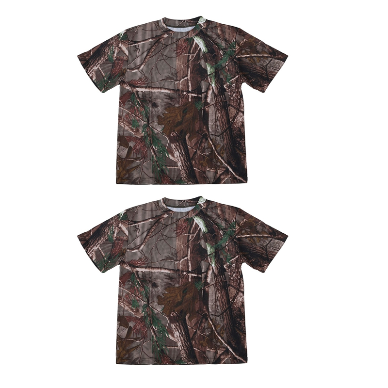 2 Pcs New Outdoor Hunting Camouflage T-Shirt Men Breathable Combat T Shirt Dry Sport Camo Camp Tees-Tree Camouflage, XXL & XL