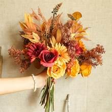 1pc outono bouquet de imitação flor artificial planta para o dia de ação de graças artificial flores secas decoração do casamento em casa
