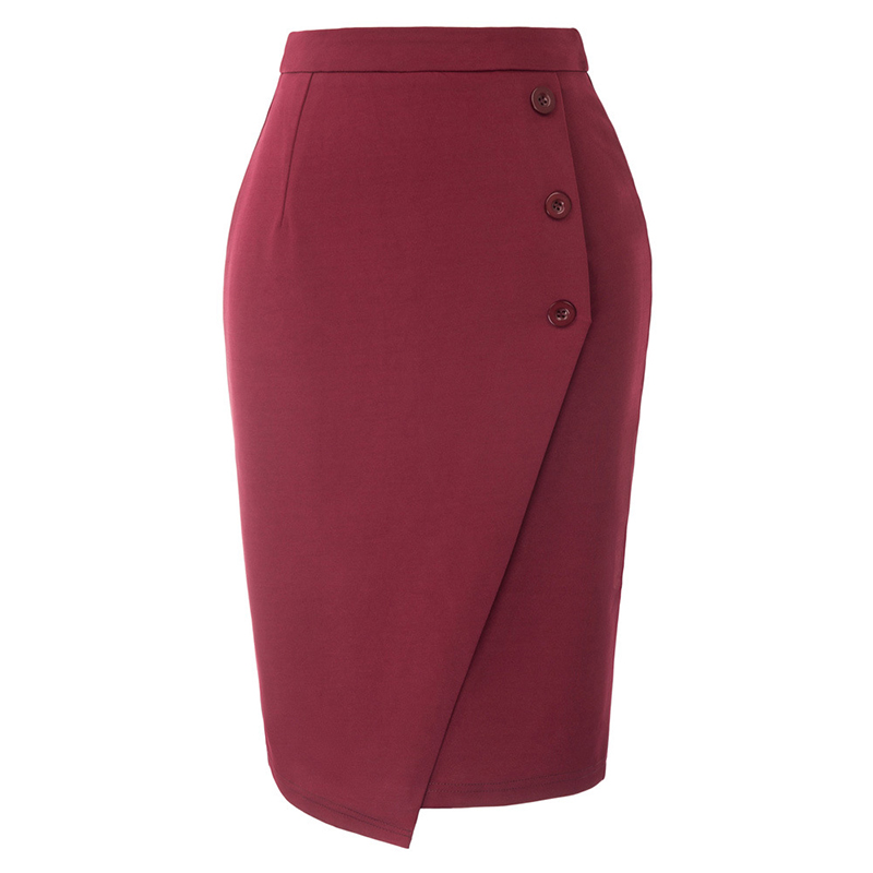 Female Pencil Mini Skirts Summer Women Fashion Casual Solid Empire Skirts Chic Ladies Button Above Knee Chic Pencil Skirts