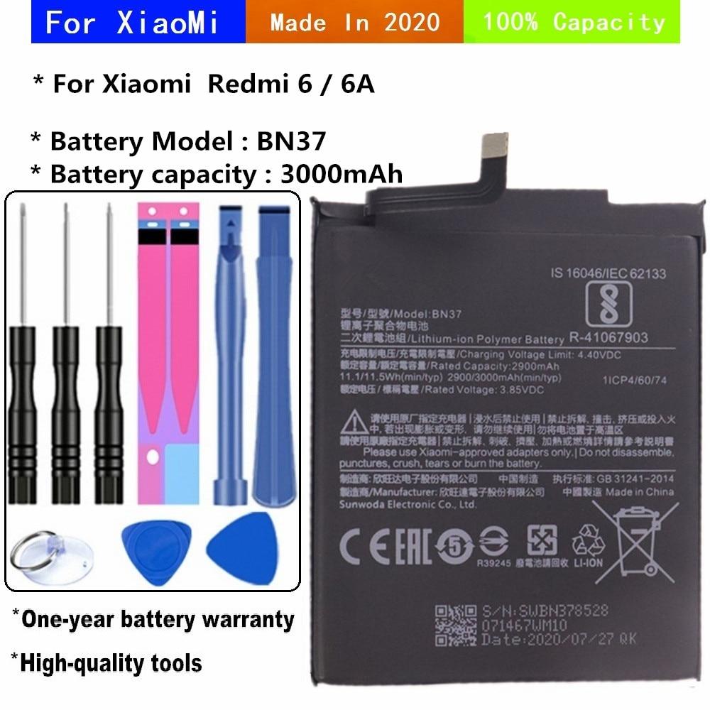 Аккумулятор BN37 для Xiaomi Redmi6 Redmi 6 Redmi 6A Redrice 6 BN37, батарея для телефона 3000 мАч с инструментами