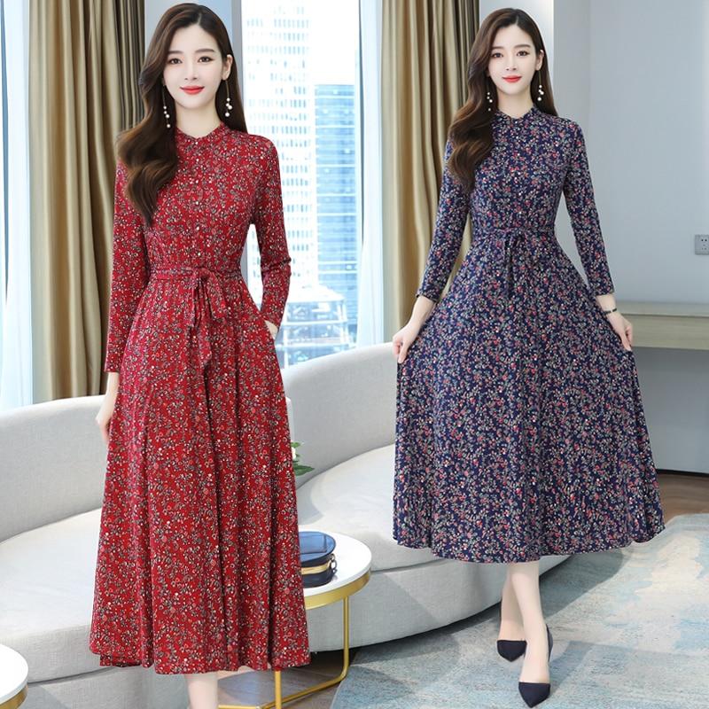 2021 Vintage Female Print Midi Dresses Autumn Winter 4XL Plus Size Floral Long Sleeve Dress Elegant Women Bodycon Party Vestidos