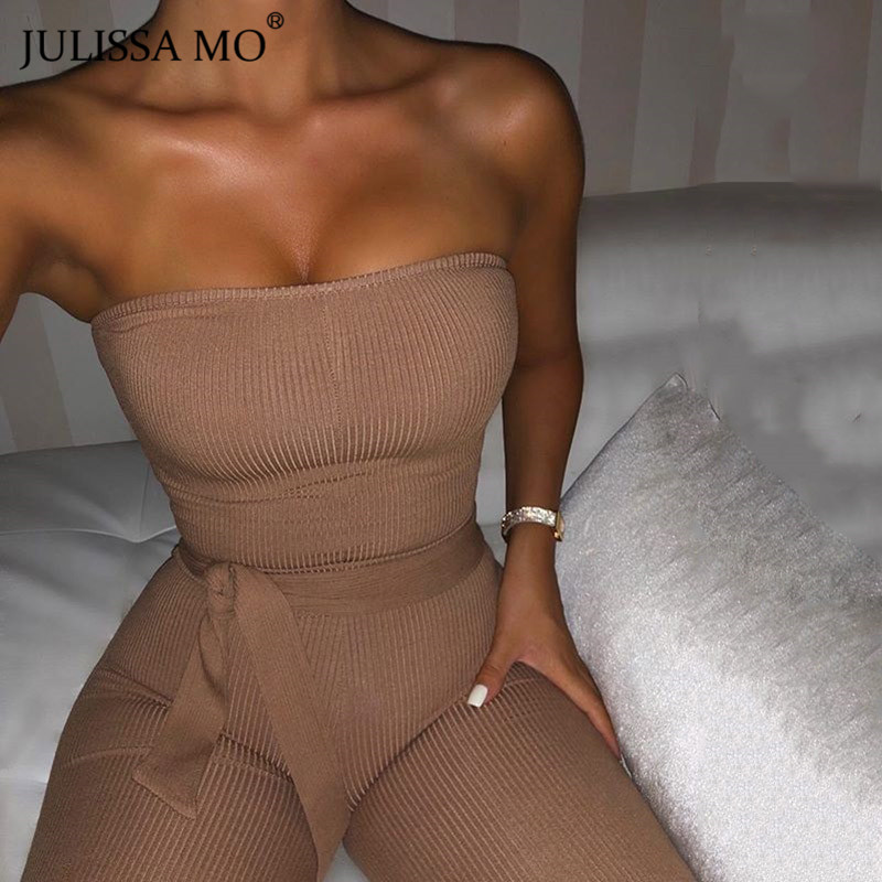 JULISSA MO Cotton Knitted Sexy Bodycon Jumpsuit Women Strapless Backless Rompers Jumpsuits Fashion Lace Up Long Pants Overalls