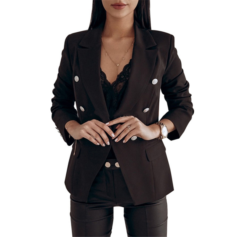 Women Blazer Double Breasted Solid Color Blazer Long Sleeve Coat Female Suit Ladies Blazers Office Lady Tops Outerwear