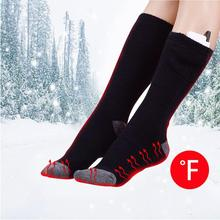 بطارية يو اس بي قابله لإعادة الشحن الرياضة التزلج ساخنة الجوارب النساء الرجال القطن المشي لمسافات طويلة التدفئة الحرارية تدفئة الساق