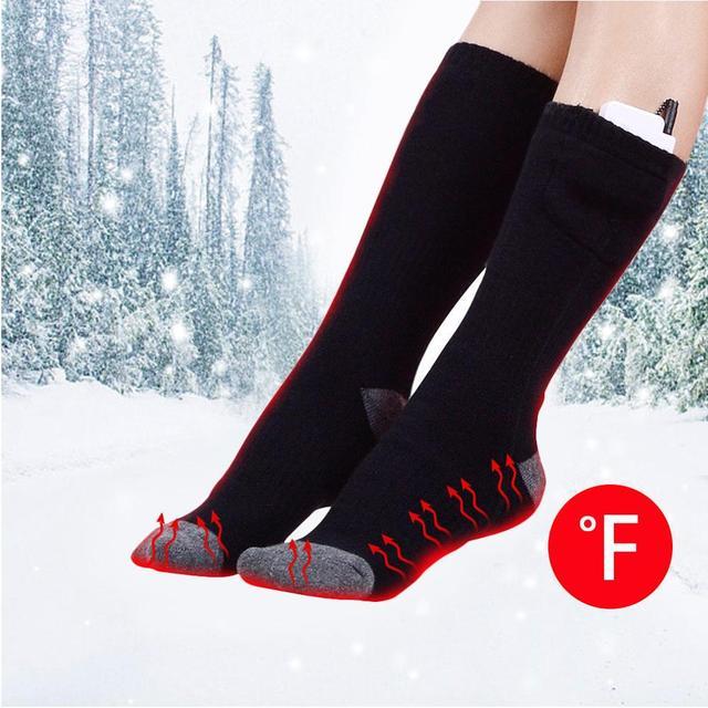 Usb Rechargeable batterie Sport Ski chaussettes chauffantes femmes hommes coton randonnée en plein air chauffage thermique jambières