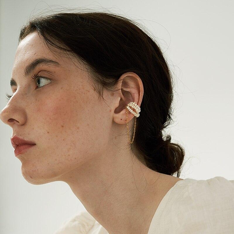 Peri'sBox Single Piece Natural Pearl Tassel Earrings Without Piercing Ferromagnetic Clip Earrings for Women Minimalist Ear Cuff