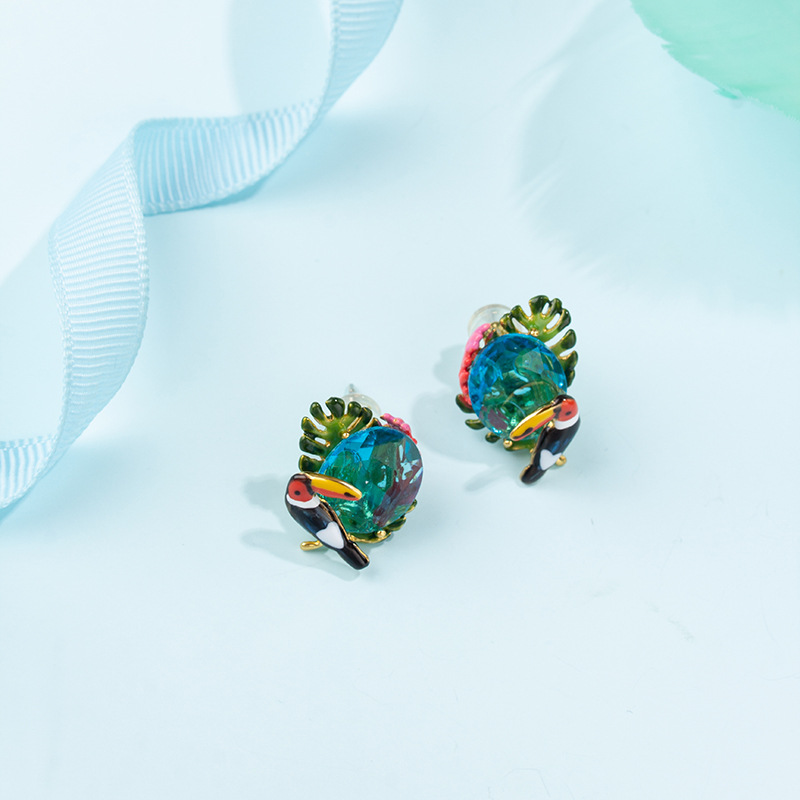 New Hand-painted Enamel Glaze Gold-plated Hornbill With Zircon Earrings Fashion Simple Love Bird 925 Silver Needle Earrings