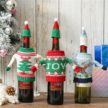 Santa Claus Wine Bottle Cover Merry Christmas Wool Decorations for Home 2019 Christmas Ornament Navidad Natal Gift New Year 2020 стоимость