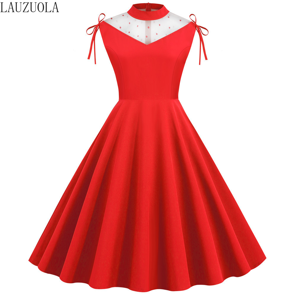 Red Women Summer Dresses 2020 Sleeveless Beading White Mesh Patchwork Big Swing Vintage Rockabilly Party Pinup Dress Cute Girls