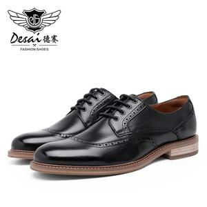 Image 4 - Desai luxe en cuir véritable hommes chaussures formelles bout pointu haut qualité en cuir de vache Oxford hommes chaussures habillées taille