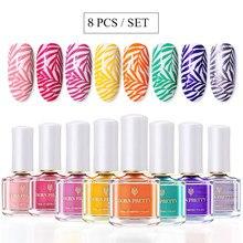 BORN PRETTY – Kit de vernis à ongles colorés de 6ml, 8 pièces/Kit, modèles de tampons pour Nail Art